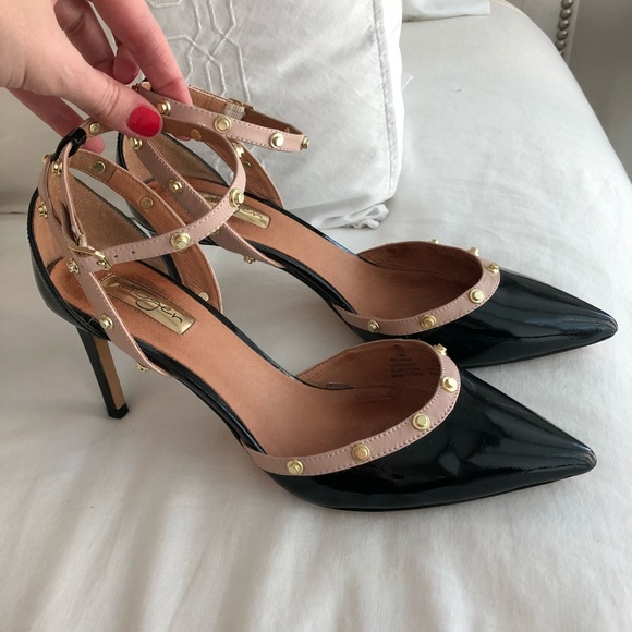 f76508c42815 Halogen Shoes - Halogen Black Nude Patent Leather Studded Heels